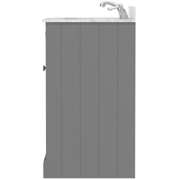 The Bath Co. Chartham slate matt grey left handed floorstanding vanity unit and white marble basin 900mm