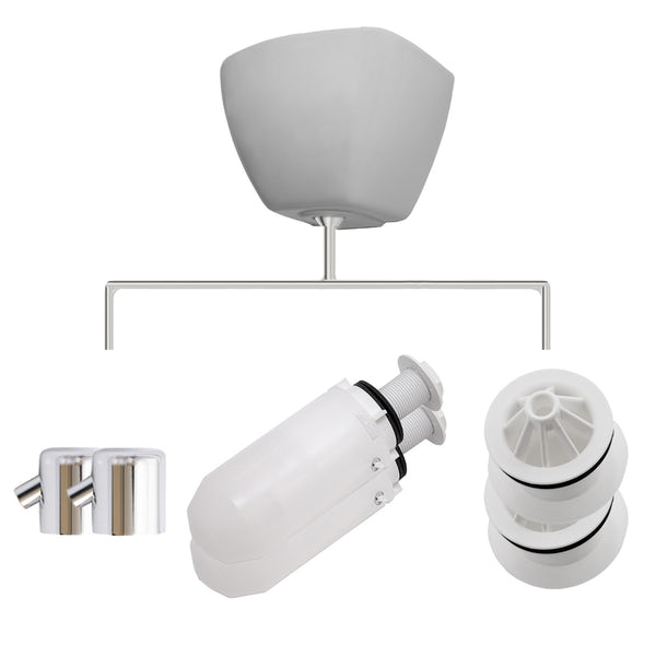 Kirke Curve top in exposed urinal accessories pack for 2 bowls