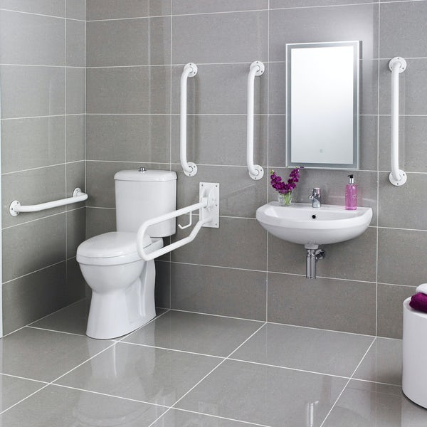 Kirke Curve Doc M toilet and basin pack with white bars