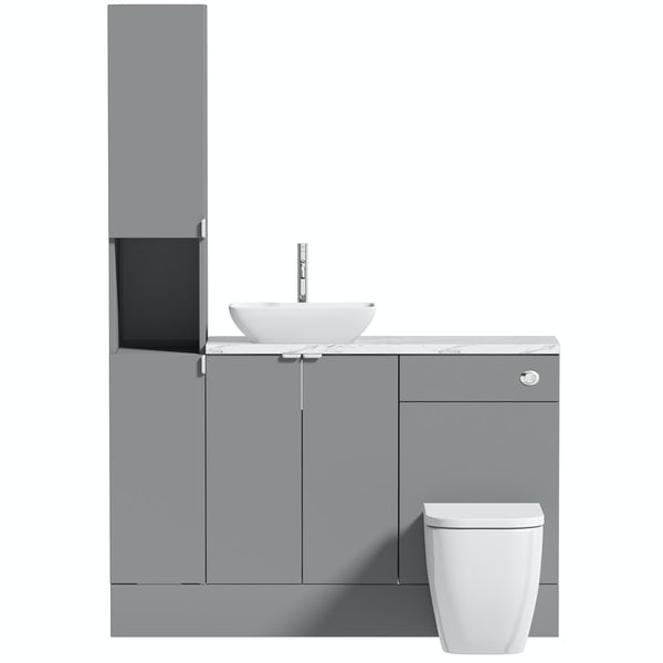 Reeves Wyatt onyx grey tall fitted furniture combination with white marble worktop and countetop basin