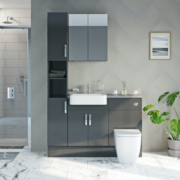 Mode Nouvel gloss grey tall fitted furniture & mirror combination with grey worktop