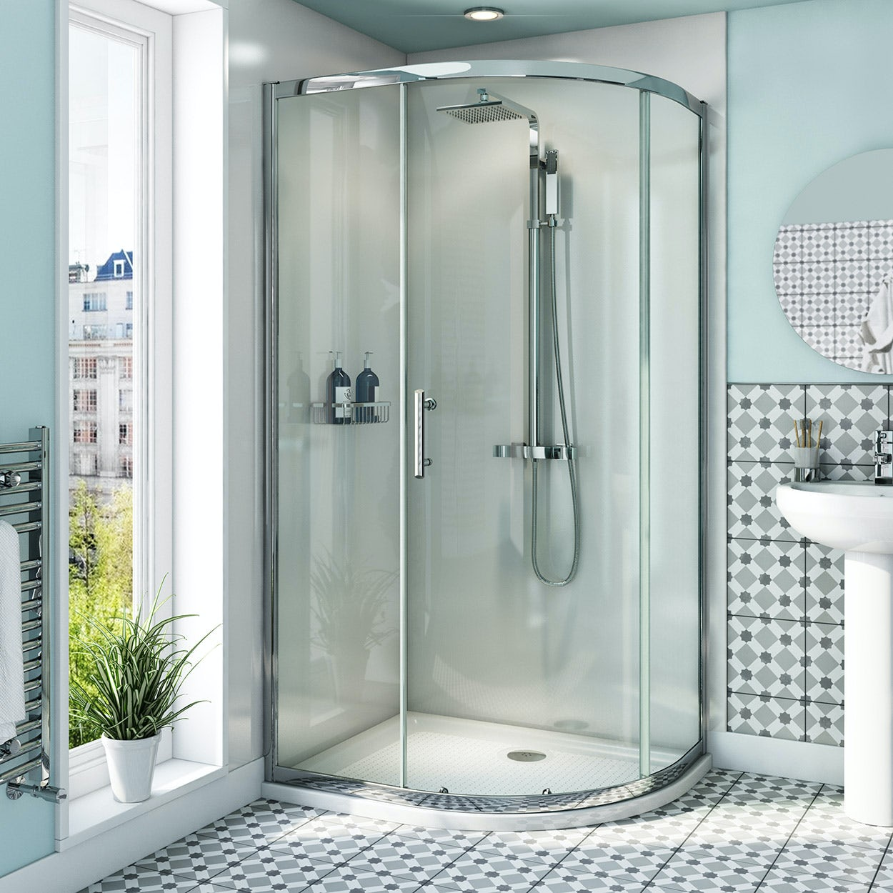 Orchard 6mm right handed offset quadrant shower enclosure with anti-slip tray 1000 x 800