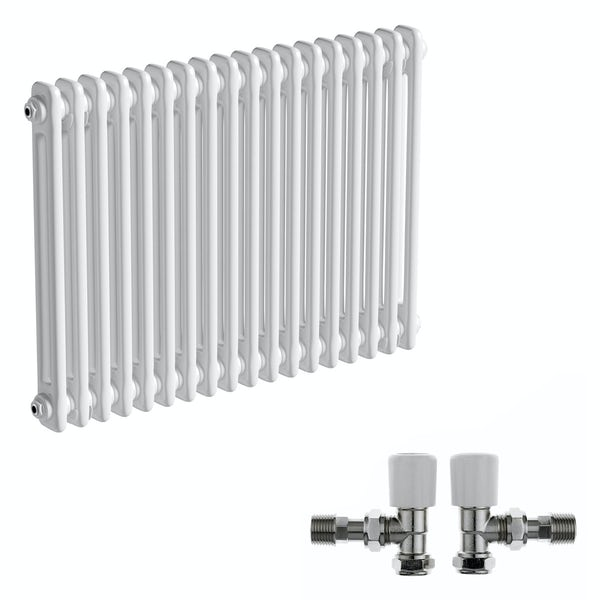 The Bath Co. Camberley white 2 column radiator 600 x 834 with angled valves