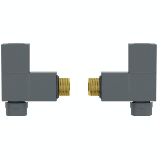 Orchard Square angled anthracite radiator valve