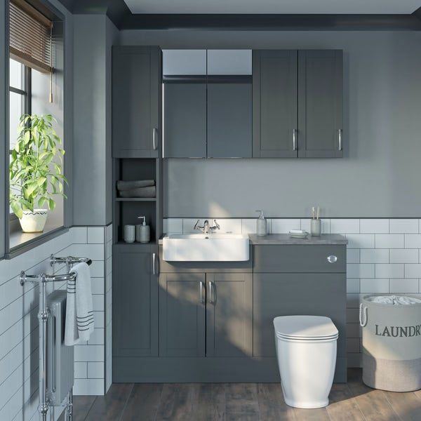 The Bath Co. Newbury dusk grey tall fitted furniture & storage combination with grey worktop