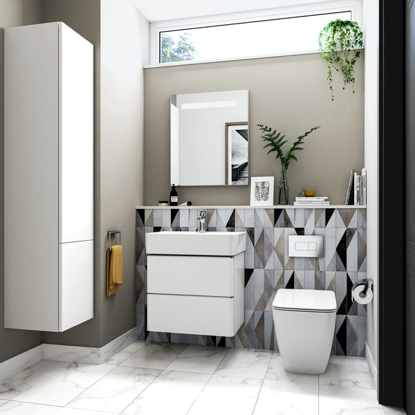 Ideal Standard Strada II wall hung toilet cloakroom suite with mirror, storage and vanity unit 600mm