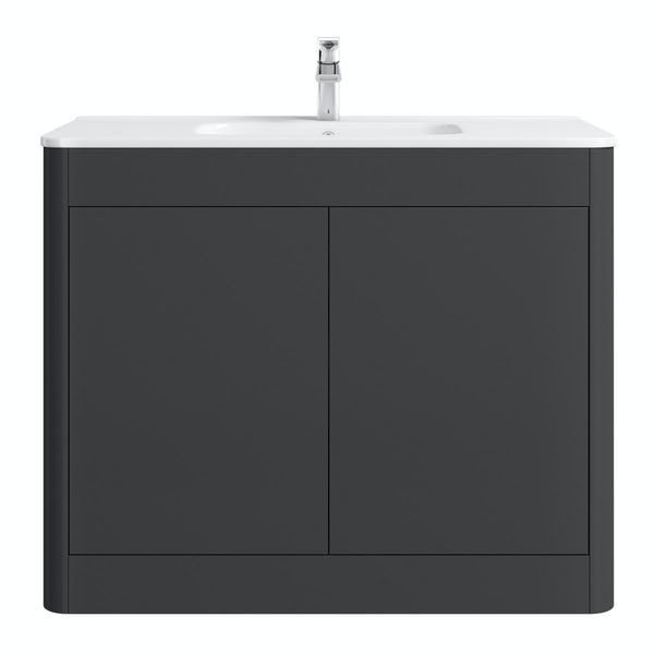 Mode Carter slate gloss grey floorstanding vanity unit and ceramic basin 1000mm