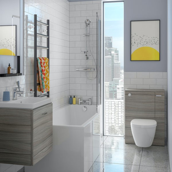 Ideal Standard Concept Space elm complete right handed shower bath suite with shower, back to wall unit, bath screen, taps, panel and waste 1700 x 700