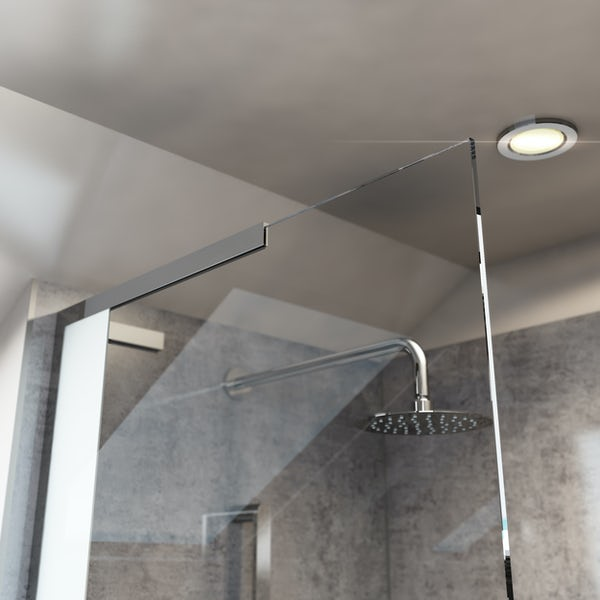 Mode Hale 8mm low iron glass wet room glass screen with stone shower tray