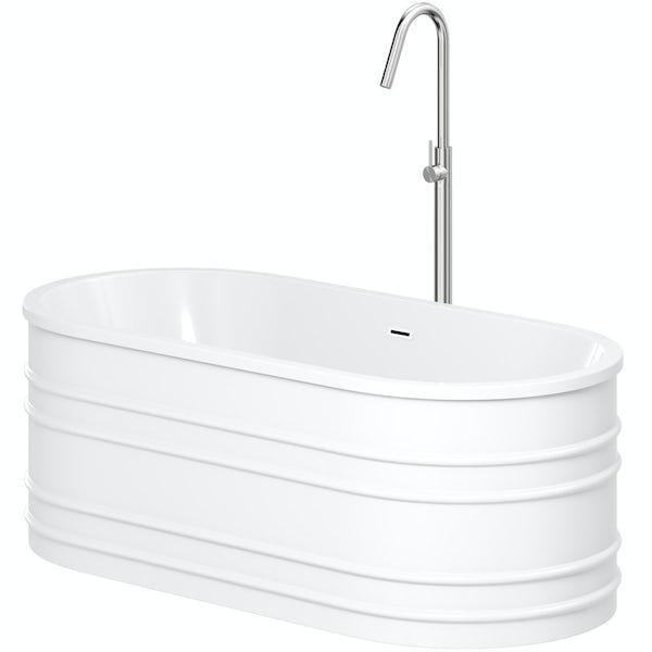 Mode Hale freestanding bath & tap pack with Spencer chrome bath filler