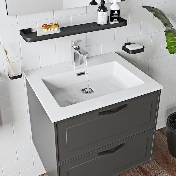 Mode Meier Grey Wall Hung Vanity Unit, Mode Meier Grey Wall Hung Vanity Unit And Basin 600mm