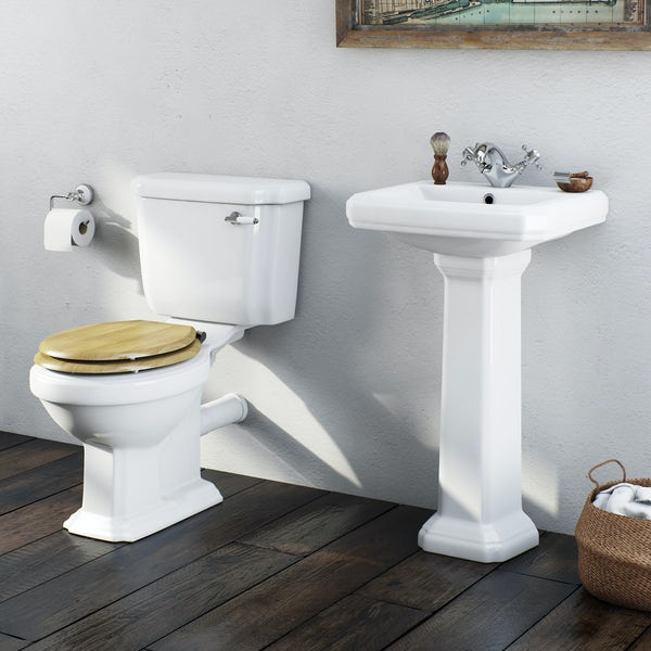 The Bath Co. Dulwich cloakroom suite with oak effect seat and full pedestal basin 571mm