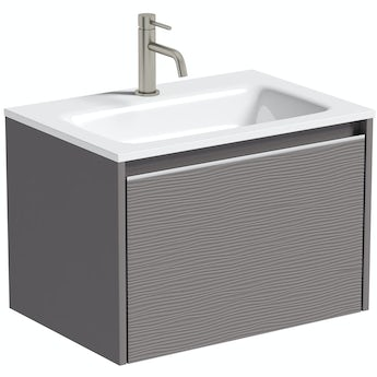 Mode Banks textured lava-stone matte brown wall hung vanity unit and basin 600mm