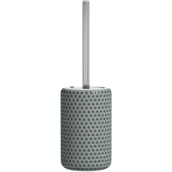 Accents grey polka dot toilet brush holder