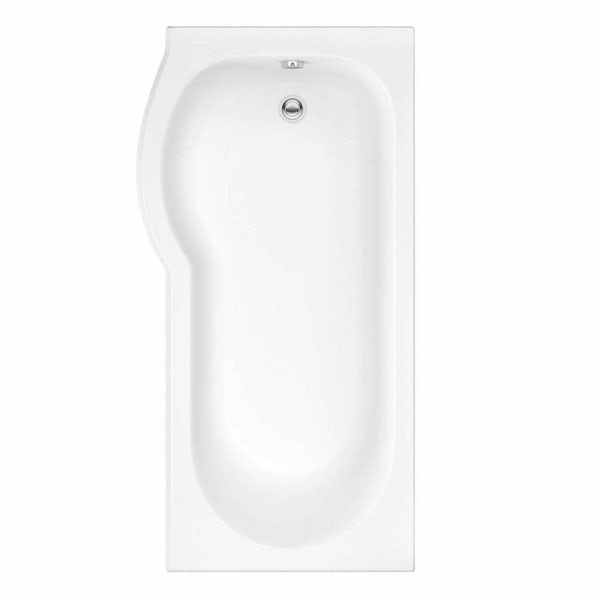 Orchard P shaped left handed shower bath with screen and bath mixer tap pack
