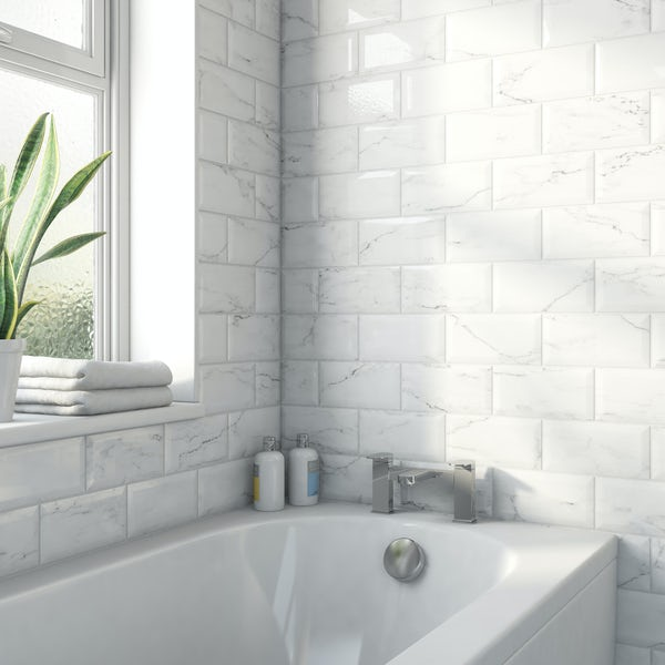 Metro carrara bevelled gloss wall tile 100mm x 200mm