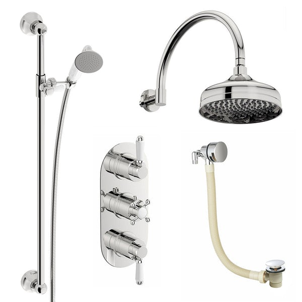 The Bath Co Dulwich concealed thermostatic mixer shower with wall arm and bath filler
