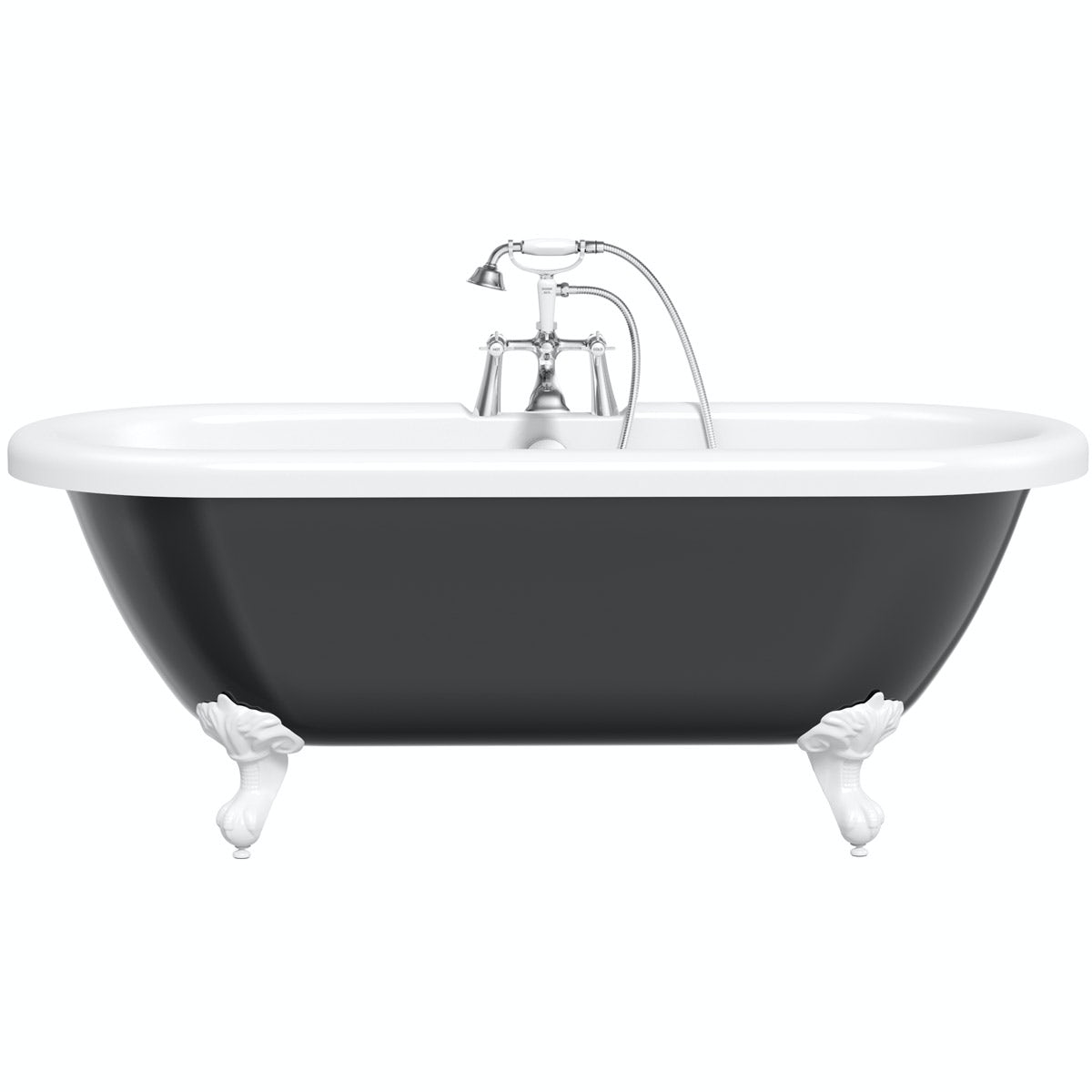 The Bath Co Dulwich Black Roll Top Bath With White Ball And Claw Feet Victoriaplum Com