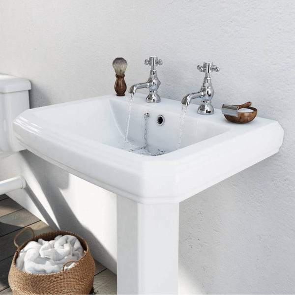 The Bath Co. Dulwich 2 tap hole full pedestal basin 585mm