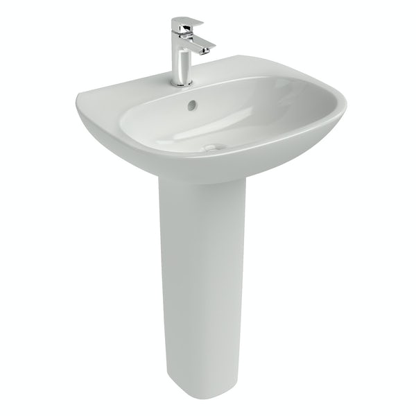 Ideal standard tesi 1 tap hole full pedestal basin for Ideal standard diagonal