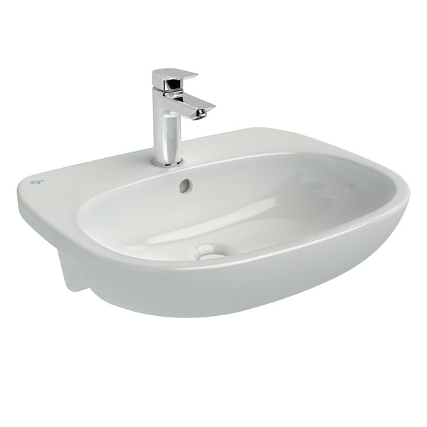 Ideal Standard Tesi 1 tap hole semi recessed counter top basin 550mm