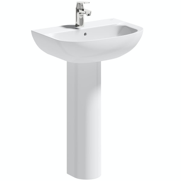Grohe Bau 1 tap hole full pedestal basin 550mm
