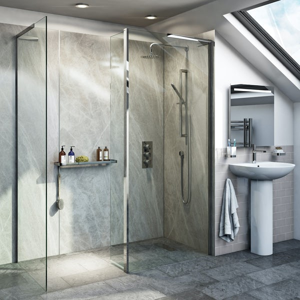 Mode 8mm Walk In Shower Enclosure Pack With Hinged Return