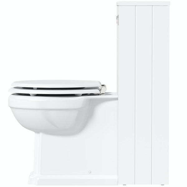 The Bath Co. Dulwich matt white slim back to wall unit and traditional toilet with white wooden seat
