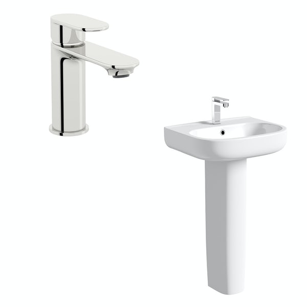 Orchard Lune full pedestal basin 550mm with tap