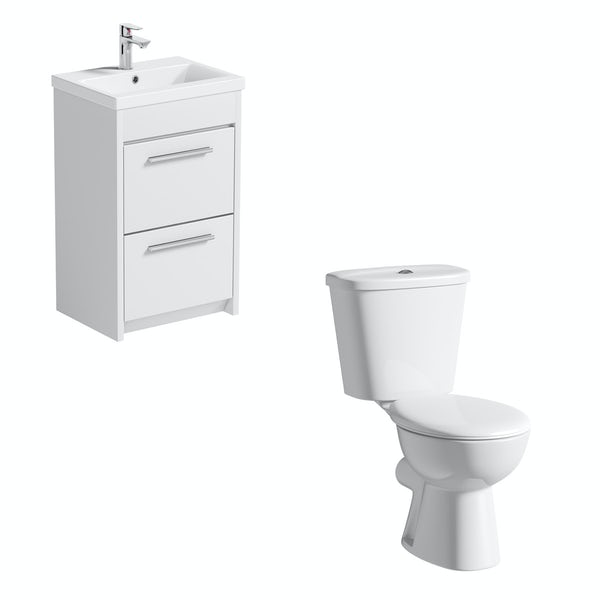 Clarity close coupled toilet and white vanity unit suite 510mm