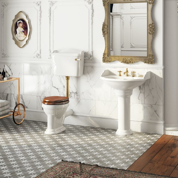 The Bath Co. Bellini low level toilet and full pedestal suite with incalux fittings and taps