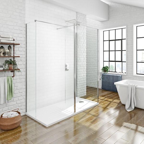 Spacious Luxury 8mm Walk in Shower Enclosure Pack  1400 x 900
