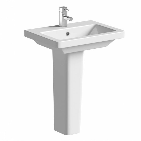 Cooper 1TH 600mm Basin & Pedestal