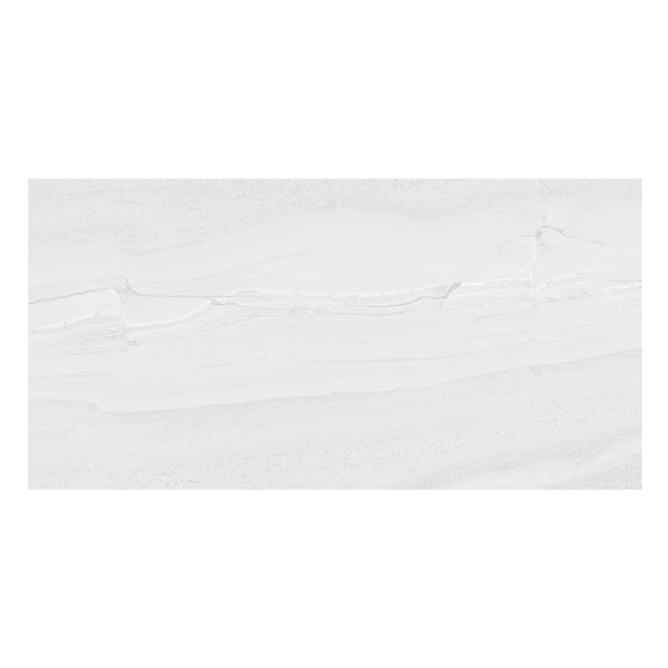 Cavalla white stone effect flat matt wall and floor tile 300mm x 600mm