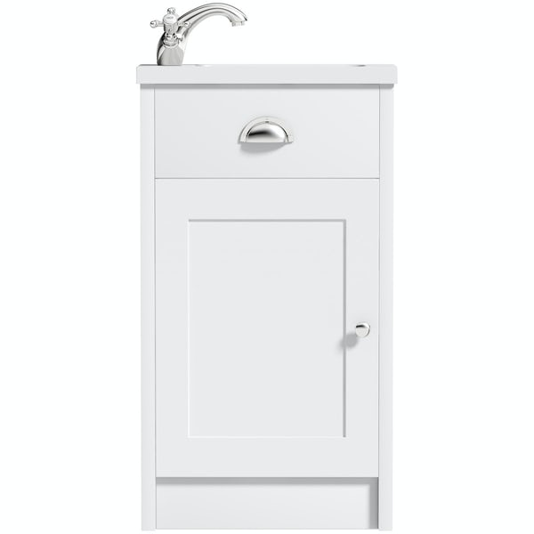 The Bath Co. Dulwich matt white cloakroom floorstanding vanity and basin 460mm