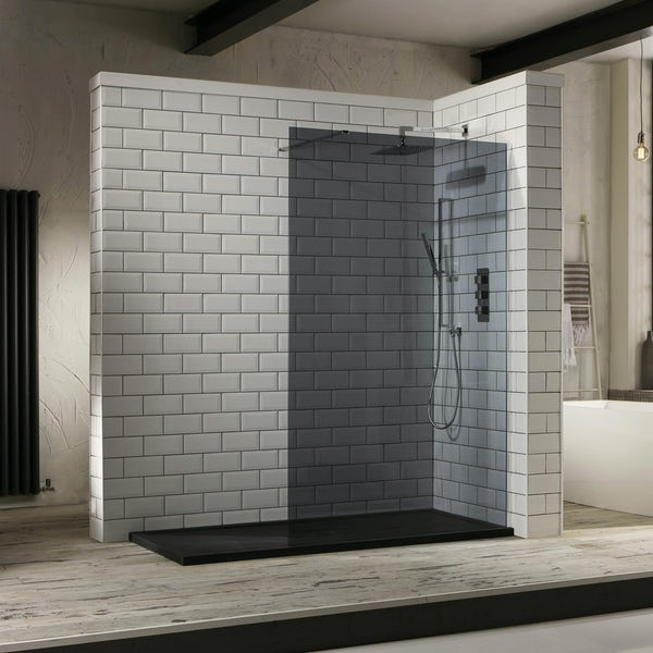 Mode 10mm smoked glass walk in glass panel