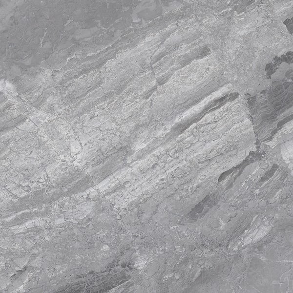 Fusion grey marble effect gloss wall and floor tile 600mm x 600mm