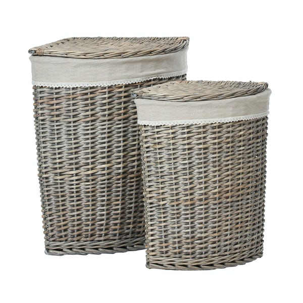 Accents Set of 2 grey willow corner laundry baskets