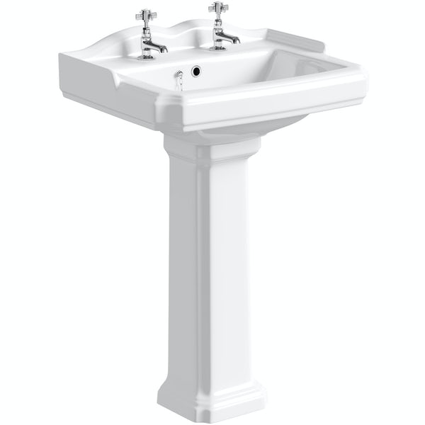 The Bath Co. Winchester 2 tap hole full pedestal basin 600mm with taps