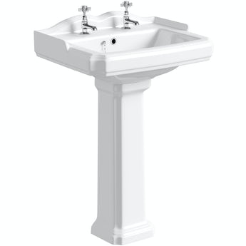 The Bath Co. Winchester 2 tap hole full pedestal basin 600mm