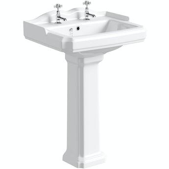 The Bath Co. Winchester 2 tap hole full pedestal basin 600mm