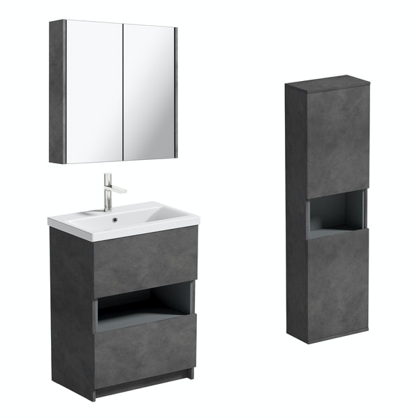 Mode Tate II riven grey furniture package with floorstanding vanity unit 600mm