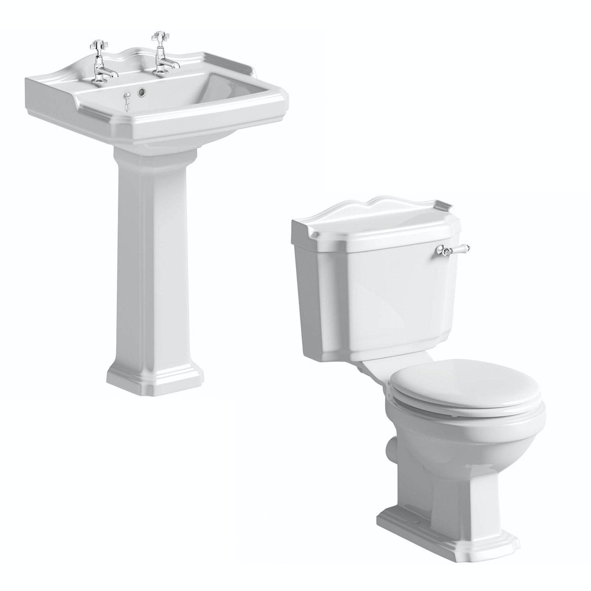 The Bath Co Winchester Cloakroom Suite With White Seat And Full Bathroom Sink Drain Plumbing Diagram Bing Images Pedestal Basin 600mm