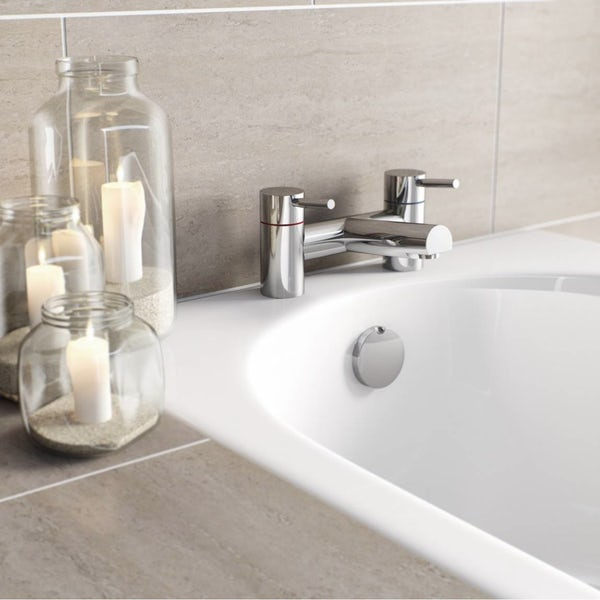 Orchard Wharfe bathroom suite with straight bath, shower ...