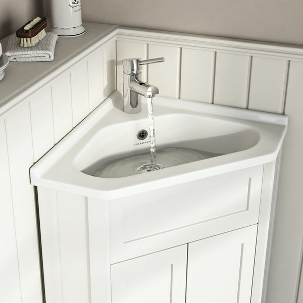 The Bath Co. Camberley white corner unit and basin 580mm