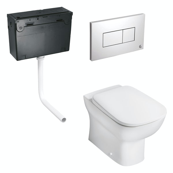 Ideal Standard Studio Echo back to wall toilet with soft close seat, concealed cistern and push plate