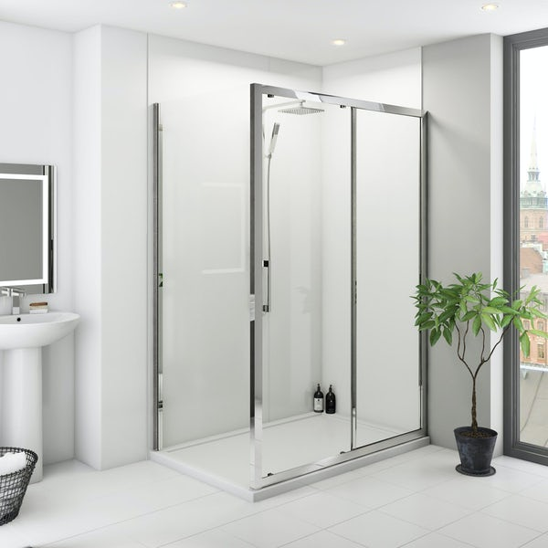 Multipanel Classic White shower wall panel corner installation pack 1200 x 1200