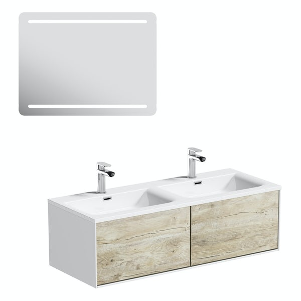 Mode Burton white & rustic oak wall hung double basin vanity unit 1200mm & LED mirror offer