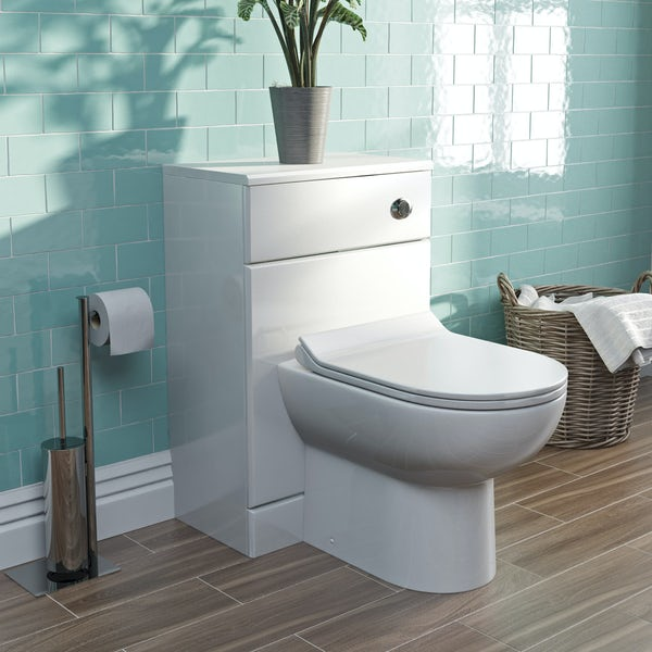 Orchard Eden white slimline back to wall unit and Eden contemporary toilet with seat