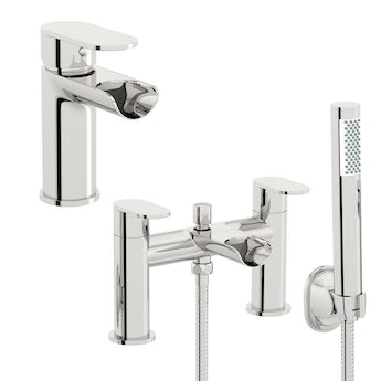 Orchard Wharfe waterfall basin and bath shower mixer tap pack